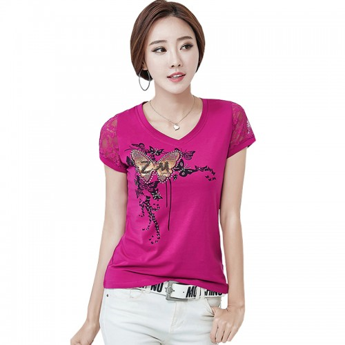 Camisetas Mujer Summer Tshirt Women Lace Short Sleeve Lady T Shirt Printing Styles Womens