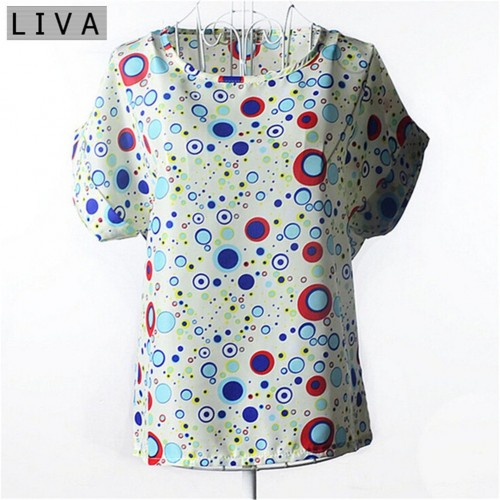 Chiffon Thin Short Sleeve Printed Women Shirt  (1)