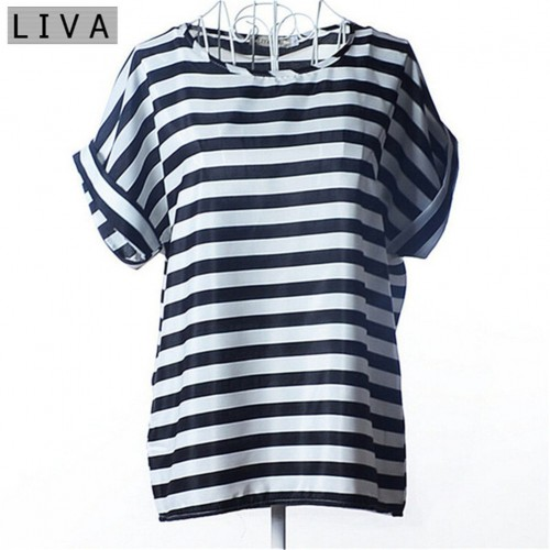 Chiffon Thin Short Sleeve Printed Women Shirt  (10)