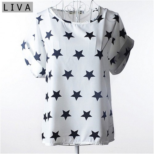 Chiffon Thin Short Sleeve Printed Women Shirt  (11)
