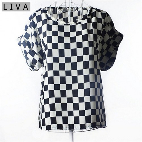 Chiffon Thin Short Sleeve Printed Women Shirt  (3)