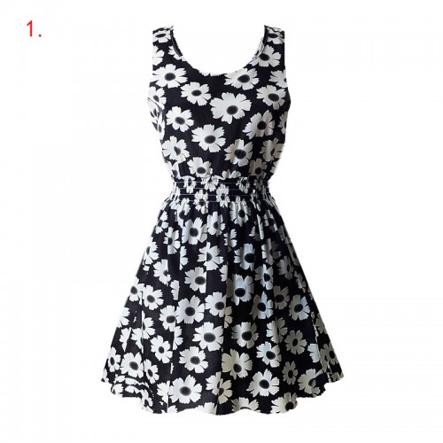 Sleeveless Printed Floral Slim Tank Mini Dress (1)