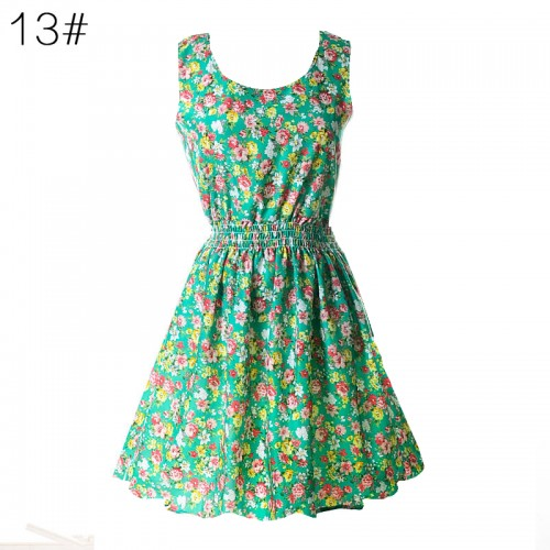 Sleeveless Printed Floral Slim Tank Mini Dress (13)