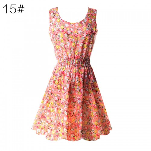 Sleeveless Printed Floral Slim Tank Mini Dress (15)