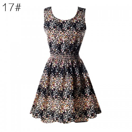Sleeveless Printed Floral Slim Tank Mini Dress (17)