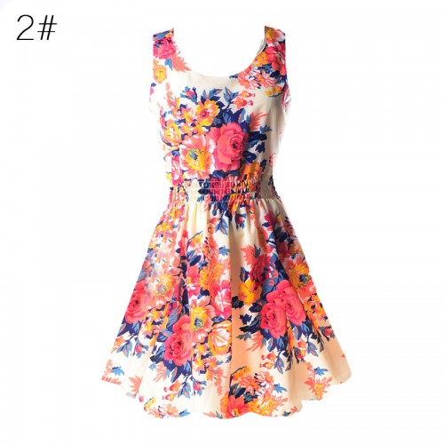 Sleeveless Printed Floral Slim Tank Mini Dress (2)
