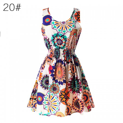 Sleeveless Printed Floral Slim Tank Mini Dress (20)