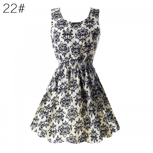 Sleeveless Printed Floral Slim Tank Mini Dress (22)