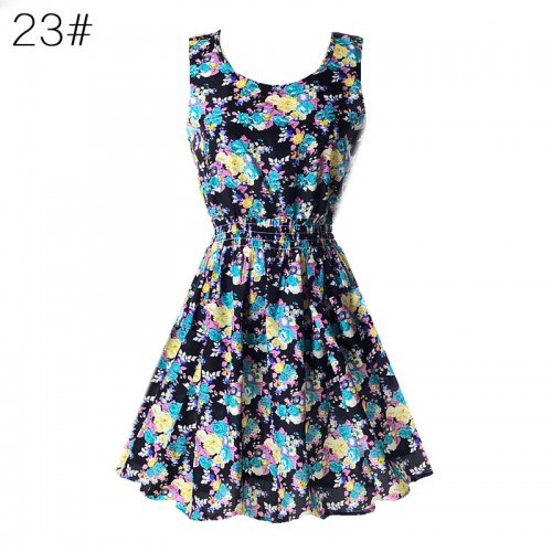 Sleeveless Printed Floral Slim Tank Mini Dress (23)