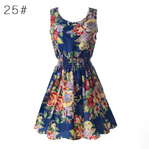Sleeveless Printed Floral Slim Tank Mini Dress (24)