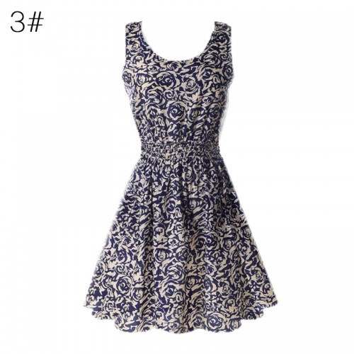 Sleeveless Printed Floral Slim Tank Mini Dress (3)