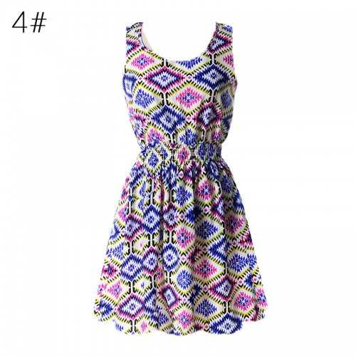 Sleeveless Printed Floral Slim Tank Mini Dress (4)