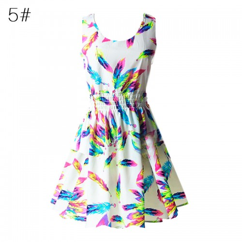 Sleeveless Printed Floral Slim Tank Mini Dress (5)
