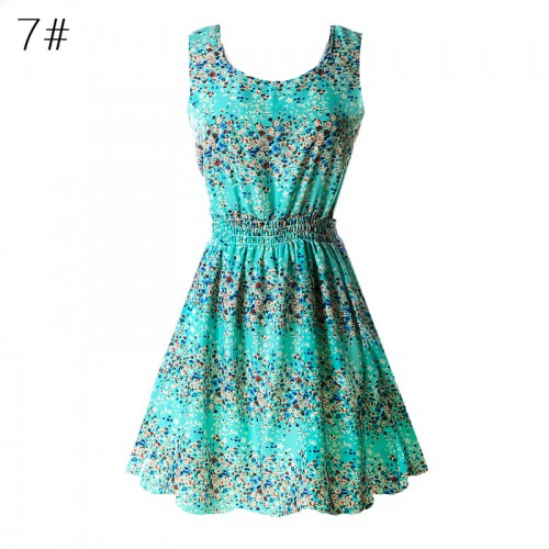 Sleeveless Printed Floral Slim Tank Mini Dress (7)