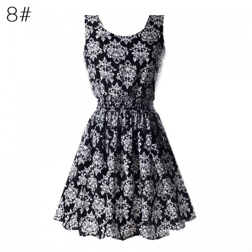 Sleeveless Printed Floral Slim Tank Mini Dress (8)