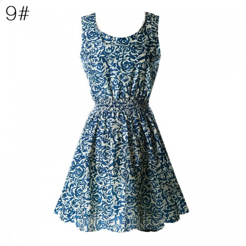 Sleeveless Printed Floral Slim Tank Mini Dress (9)