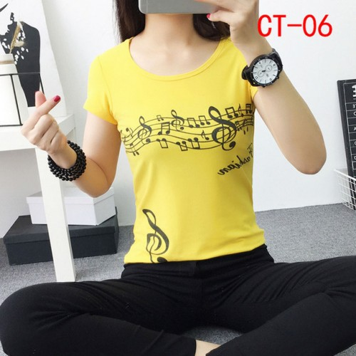 New Fashion Women Summer Printed Colorful Cotton Short Sleeve O Neck T Shirts (13)