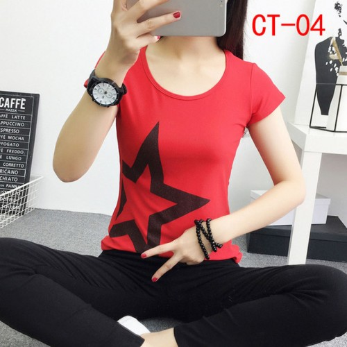 New Fashion Women Summer Printed Colorful Cotton Short Sleeve O Neck T Shirts (19)