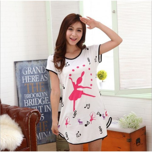 Printed Sleepwear Short Sleeve Long T Shirt (14)
