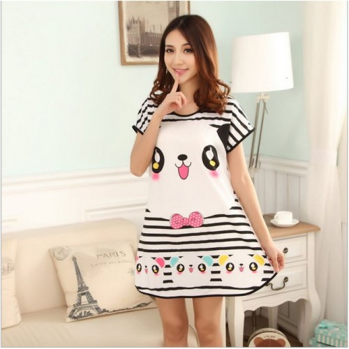 Printed Sleepwear Short Sleeve Long T Shirt (15)