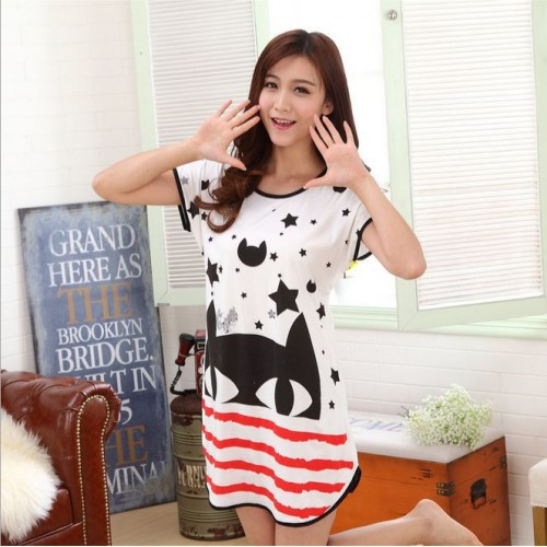 Printed Sleepwear Short Sleeve Long T Shirt (16)