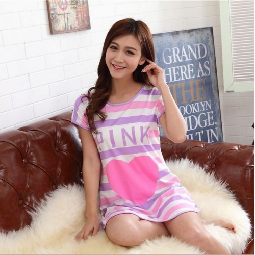 Printed Sleepwear Short Sleeve Long T Shirt (17)