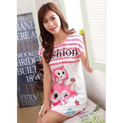 Printed Sleepwear Short Sleeve Long T Shirt (18)