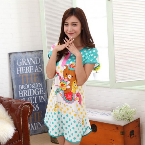 Printed Sleepwear Short Sleeve Long T Shirt (19)