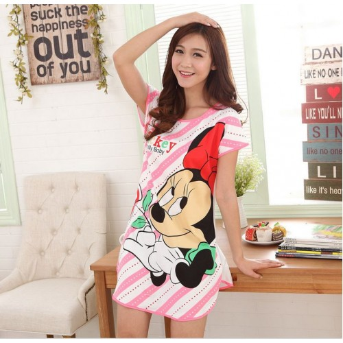 Printed Sleepwear Short Sleeve Long T Shirt (20)