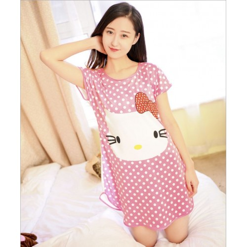 Printed Sleepwear Short Sleeve Long T Shirt (21)