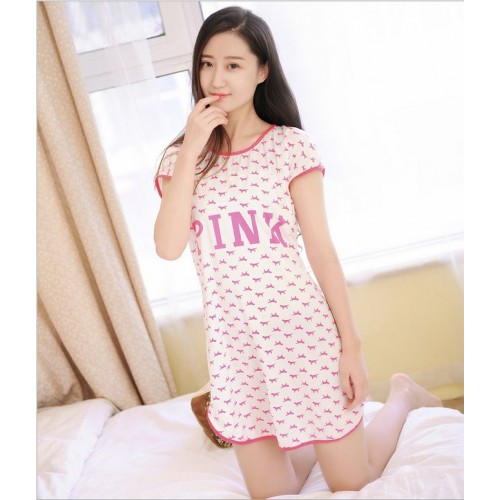 Printed Sleepwear Short Sleeve Long T Shirt (22)