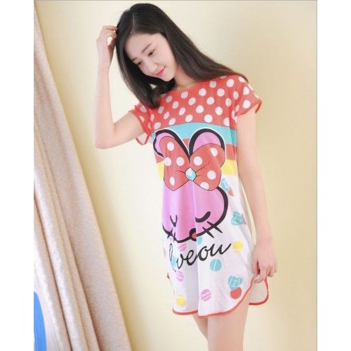 Printed Sleepwear Short Sleeve Long T Shirt (23)