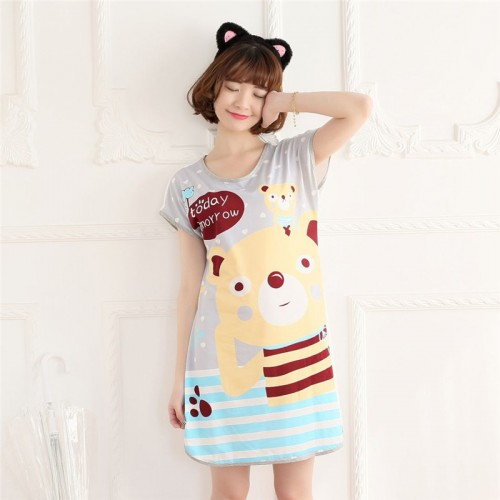 Printed Sleepwear Short Sleeve Long T Shirt (10)