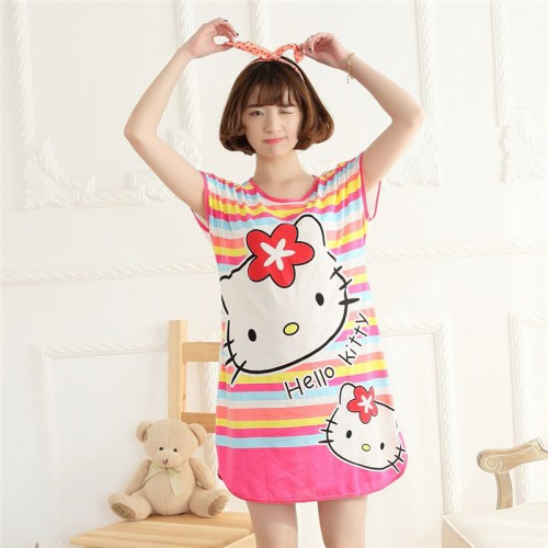 Printed Sleepwear Short Sleeve Long T Shirt (2)