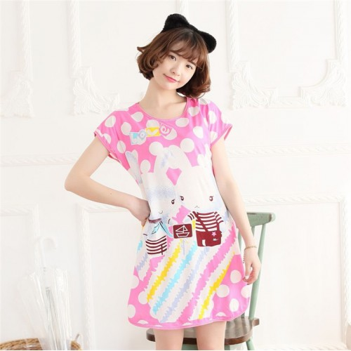Printed Sleepwear Short Sleeve Long T Shirt (3)