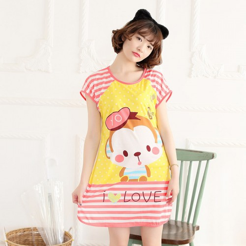 Printed Sleepwear Short Sleeve Long T Shirt (6)