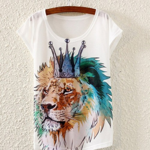 Short Sleeve Loose Casual Print Women Shirts (8)