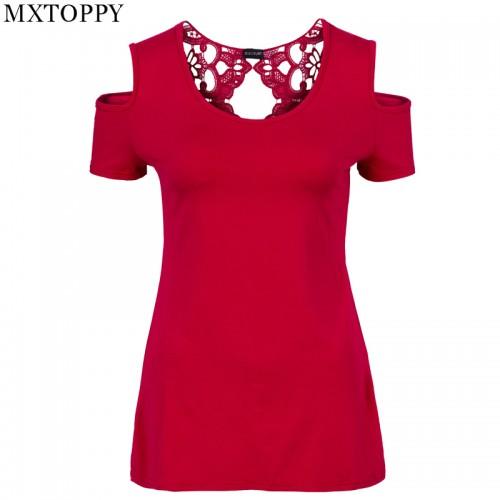 Summer Women Short Sleeve Tshirt Top Plus Size Off Shoulder Lace Crochet T shirt
