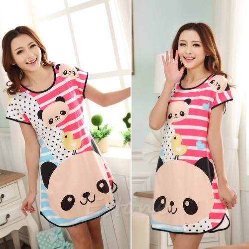 Printed Sleepwear Short Sleeve Long T-Shirt (10)