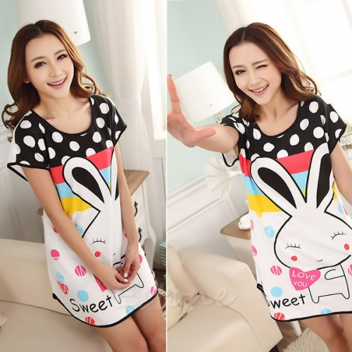 Printed Sleepwear Short Sleeve Long T-Shirt (11)