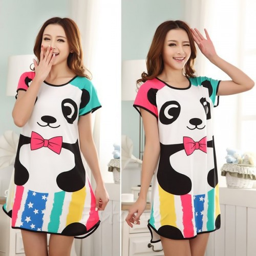 Printed Sleepwear Short Sleeve Long T-Shirt (6)