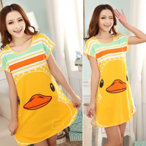 Printed Sleepwear Short Sleeve Long T-Shirt (8)