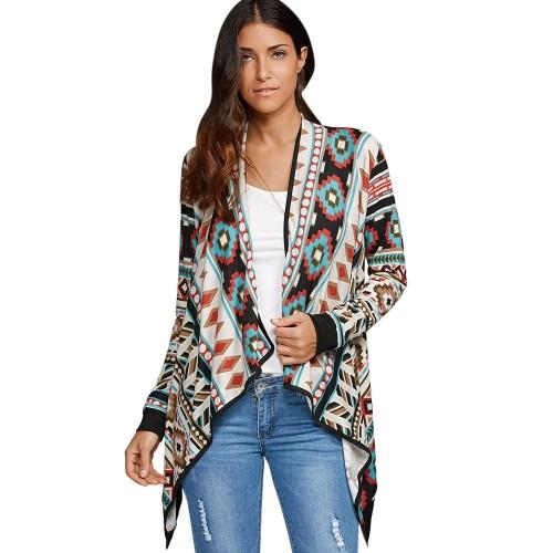 Asymmetrical Kimono Cardigan Blouses Women Geometric Printed Long Sleeve Cotton Coat Fashion Knitted Poncho Tops