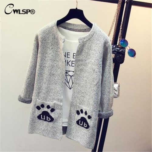 CWLSP Women Long Sleeve Sweater Cardigan Autumn Winter Star Letter Knitted Plaid Sweaters Casual Outerwear