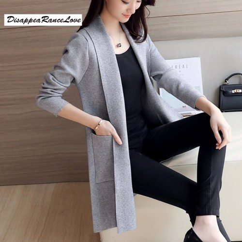 DRL Brand Spring and Autumn Women s Top Medium long Cardigan Outerwear Sweater knitted sweater