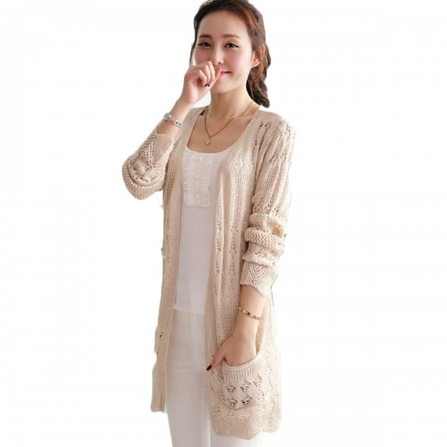 Ladies Crochet Tops Fashion Women Beach Cardigan Spring Summer Hollow Out Knitted Sweaters Size Rebecas