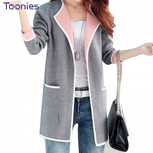 Long Sweaters Women New Autumn All match Patchwork Full sleeve Slim Pocket Knitted Cardigan Sweater