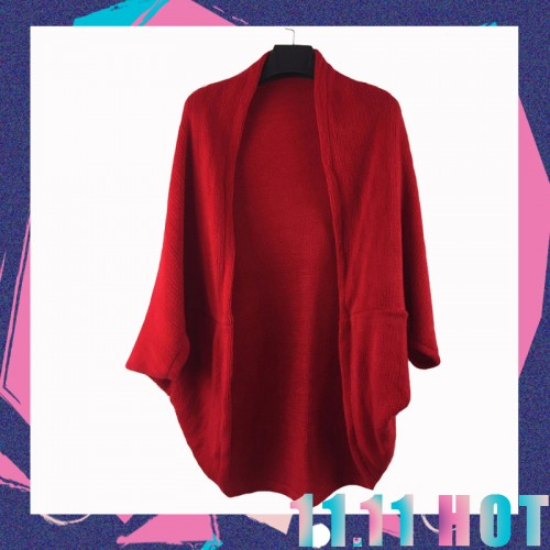 New Fashion Women Casual Korea Loose Shawl Batwing Sleeves Lady Knit Sweater Coat Woolen Women
