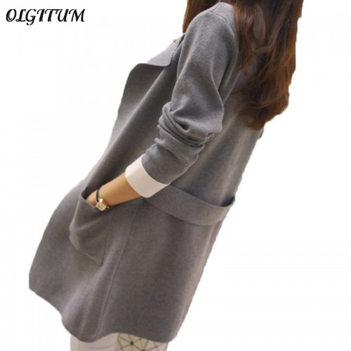 New Fashion autumnand winter knitted medium long sleeve cardigan top outerwear solid color women s