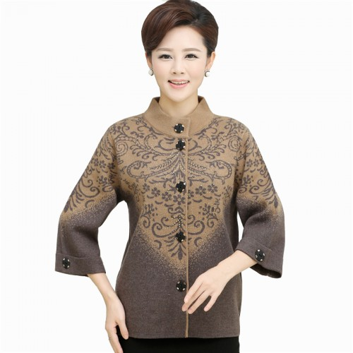 New Women s Thickening Sweater outerwear Mother Fifth sleeve Cardigan Plus Size Single breasted Women Jackets